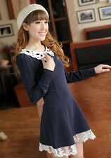 NEW Kawaii Japanese Navy Lolita Sweet Sailor Collar Princess Long Sleeve Dress