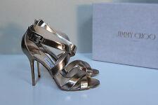 6.5 / 36.5 Jimmy Choo Lottie Gold Mirror Leather Open Toe Ankle Sandal Heel Shoe