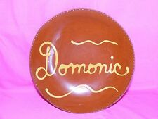 """L. BREININGER Pottery DOMONIC Plate 10.5"""" RedWare Slip Decorated Robesonia PA"""