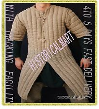 Thick camel color long Gambeson Medieval Padded play movie Armor half sleeves