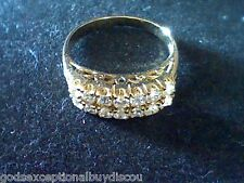 14K GOLD & SS  2 ROW FANCY WEDDING ANNIVERSARY  BAND RING + FREE NECKLACE SZ 7