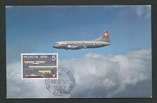 SCHWEIZ MK 1959 668 AVIATION SWISS AIR PLANE MAXIMUMKARTE MAXIMUM CARD MC d3021
