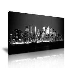 NEW York City Manhattan di Notte Skyline Tela WALL ART PICTURE PRINT 60x30cm