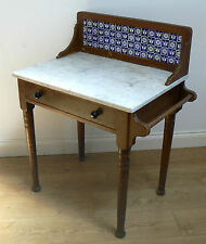 VINTAGE FRENCH WASHSTAND CONSOLE TABLE - antique retro Edwardian marble tile-top