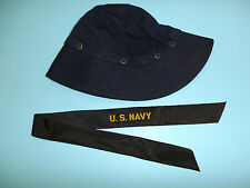 b2007 WW2 US Navy Wave Round service hat blue top w/ navy cap band