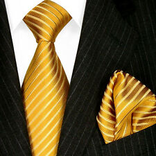 84325 LORENZO CANA - Marken Krawatte und Pochette , 100% Seide Goldgelb Streifen