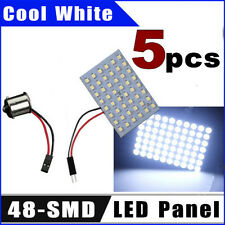 5X 48-SMD LED Panel Cool White Dome Map Interior Light + 1156 BA15S Adapter 12V