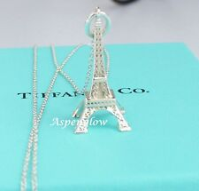 """AUTHENTIC TIFFANY & CO  STERLING SILVER EIFFEL TOWER CHARM PENDANT 18"""" NECKLACE"""