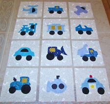 "Set of 12  Blue Transportation Vehicles Applique  6"" x 6"" Quilt  Blocks"