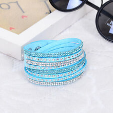 SLAKE BRACELET FAUX LEATHER SUEDE CRYSTALS LIGHT BLUE TURQUOISE