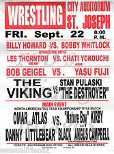 "Pro Wrestling Poster 40th Anniversary Card Men St Joseph MO NWA Vintage   8""x11"