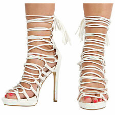 NEW LADIES WOMENS STILETTO HIGH HEEL PLATFORM CUT OUT PEEP TOE LACE UP SHOES