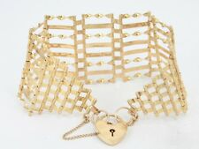 Gate Bracelet Gold Heart Locket Clasp Ladies Vintage 375 C79