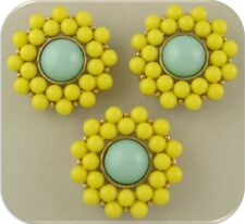 Beads 2 Hole Sliders QTY 3 Pretty Flowers Yellow & Aqua~Lucite~Gold Plated Metal