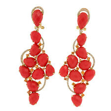 18 Yellow Gold 0.45ct Diamonds 23.26 CT Coral Earrings