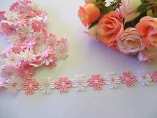 Pink /White Daisy Flowers Braid Lace Trim 25 mm #6PK390B 1 metre