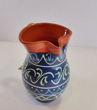 Painted Clay Pitcher/Jug/Vase/Made in Spain/Dk Blue/16 oz