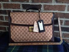 VINTAGE 1980's GUCCI SIGNATURE CANVAS SURFACE PRO 3 LEATHER BRIEFCASE BAG R$1195