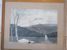 Antique Watercolor Painting Trees Moutains Lake Black & White