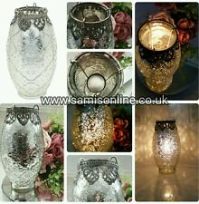 Tall Vintage Moroccan Arabesque Tea Light Lantern Candle Silver Shabby Chic Rare