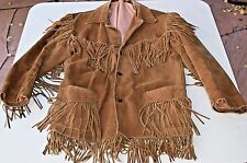 Southwestern Brown Warm Leather Suede Fringed Western Wear Cowboy Jacket Coat