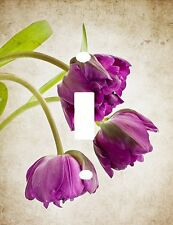 BEAUTIFUL PURPLE TULIP TRIO OF FLOWERS LIGHT SWITCH PLATE COVER