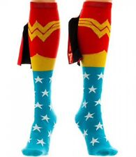 DC COMICS WONDER WOMAN KNEE HIGH SOCKS WITH SHINY CAPE SUIT UP LOGO ADULT WOMENS