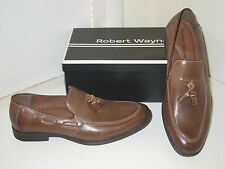 Robert Wayne Calahan Rhum Brown Leather Dress Tassel Loafers Shoes Mens 9.5