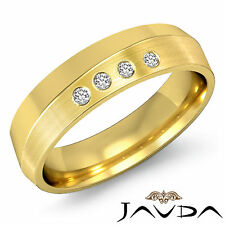 4 Stone Round Diamond Mens Half Wedding Band 6mm Ring 14k Yellow Gold 0.10Ct