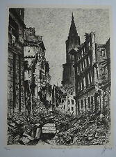 "JACQUES GACHOT (1885/1954) Litho  "" BOMBARDEMENT STRASBOURG "" N° 48/200 - Signé"