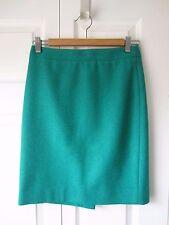 EUC J. Crew Factory Pencil Skirt Wool Viridian Green Turquoise Light Size 00