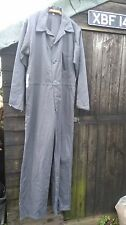 VINTAGE GREY COTTON TWILL BOILER SUIT OVERALLS WORK WEAR SIZE 42 BUTTON FRONT