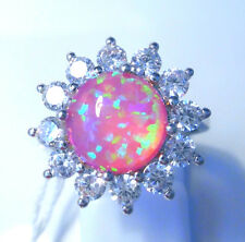 "GORGEOUS PINK  FIRE OPAL/WHITE TOPAZ   RING UK Size ""P"" US 8"