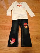 NWT Gymboree Blooming Nautical Poppy Jeans Peasant Top Shirt 4 4T Set