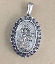 Stunning Antique Silver Gold Victorian Locket w Flowers