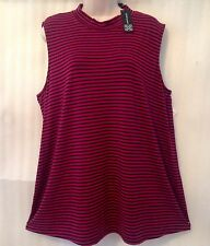 Cable Gauge Plus size 22/24/2X Berry Black Stretch Striped Pullover Knit Top NEW