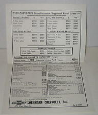 1960 Chevrolet Single Page Manufacturer's Sugg Retail Prices & Features