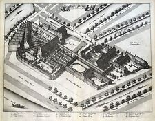 Plan de calle Amsterdam, Gast Huys Bird's Eye Commelin antigua de impresión de 1693