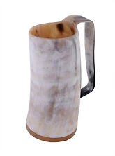 1 HORN BEER MUG HORN BEAKER STEIN VIKING DRINKING CUP LIGHT SHADE WITH HANDLE