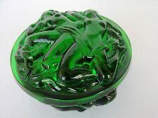 BOHEMIAN GREEN GLASS JEWELRY/TRINKET/POWDER BOX ART DECO NUDE EROTIC