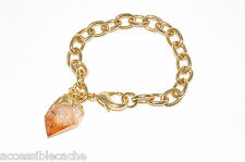 Privileged Yellow Citrine Quartz Charm Chain Bracelet, Gold Plated