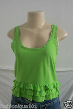 NEW HOLLISTER WOMENS GREEN LACE TRIM TANK TOP CAMI BLOUSE SIZE SMALL