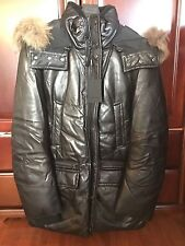 NWT Mackage Lee Leather Down Coat Jacket Black Men's 42