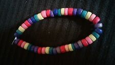 Gay pride Rainbow Wood beaded bracelet - NEW