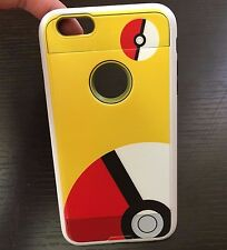 For iPhone 6 / 6S - Hybrid Brushed Armor Skin Case Cover Yellow Pokemon Pokeball