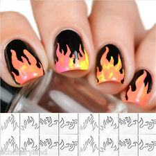 1 Sheet French Edge Tip Guides Flame Nail Art Sticker Fringe Guide Stencil DIY