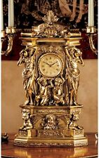 "CLASSICAL GREEK ORNATE FAUX ANTIQUE GOLD 20"" MANTEL CLOCK HOME DECOR NEW"
