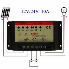 10A 12V/24V PWM Solar Panel Charger Controller Regulator Protection Auto Adapt