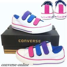 KIDS Girl Boy CONVERSE All Star WHITE VELCRO 3V SLIP ON Trainers Shoes UK SIZE 4