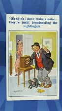 Donald McGill Comic Postcard 1933 Wireless Radio Black Cat NIGHTINGALE Drunk